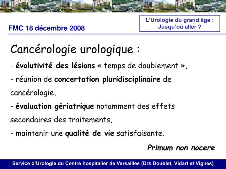 L'Urologie du grand âge :