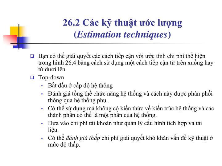26.2 Các kỹ thuật ước lượng