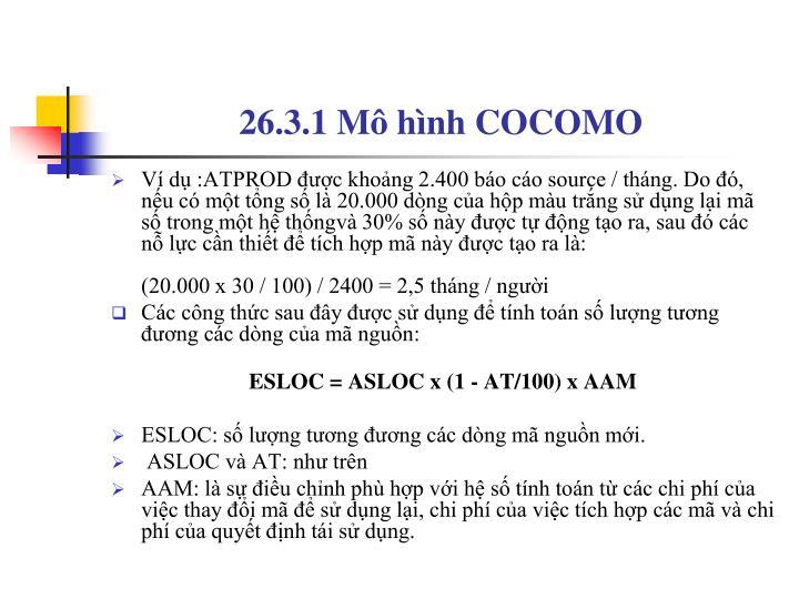 26.3.1 Mô hình COCOMO