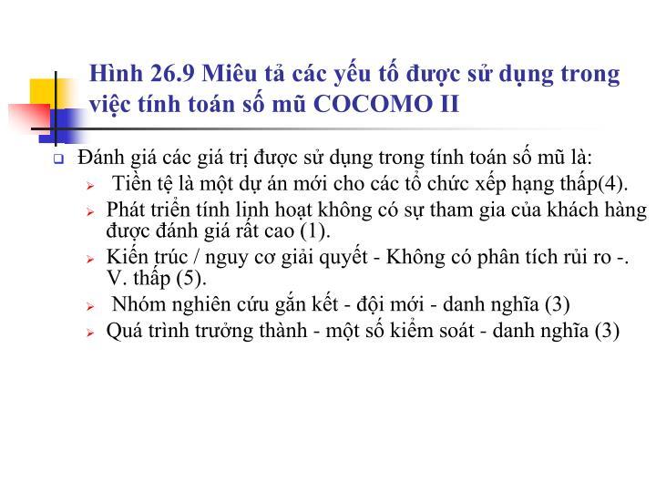 Hình 26.9 Miêu tả các yếu tố được sử dụng trong việc tính toán số mũ COCOMO II