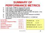 summary of performance metrics