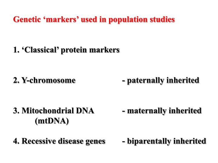 Genetic 'markers' used in population studies