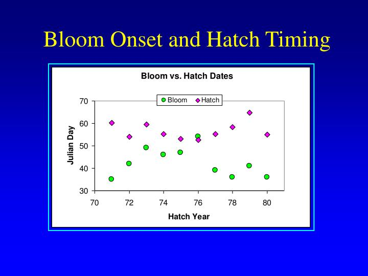 Bloom Onset and Hatch Timing