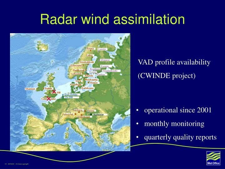 Radar wind assimilation