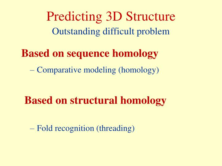 Predicting 3D Structure