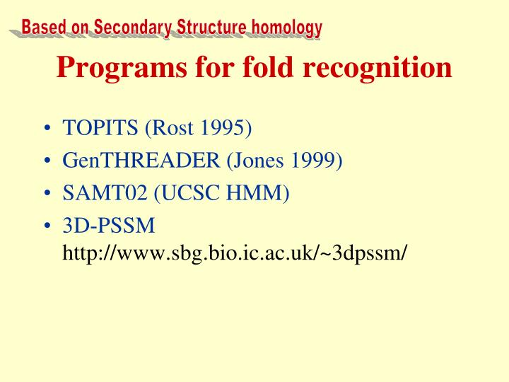 Based on Secondary Structure homology