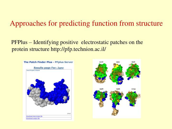 Approaches for predicting function from structure