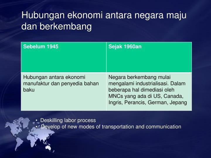 Hubungan ekonomi antara negara maju dan berkembang
