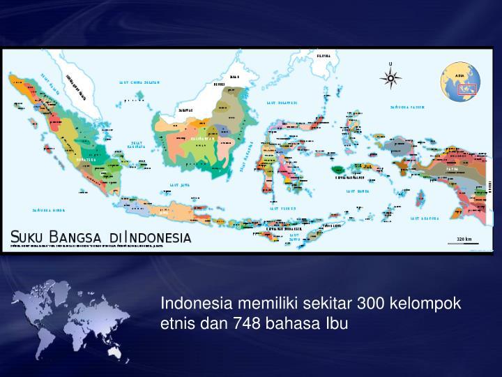 Indonesia memiliki sekitar 300 kelompok etnis dan 748 bahasa Ibu