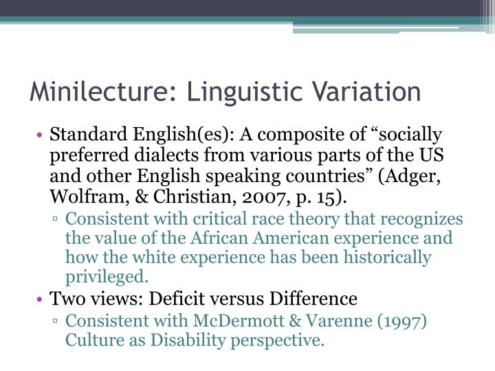 Minilecture: Linguistic Variation