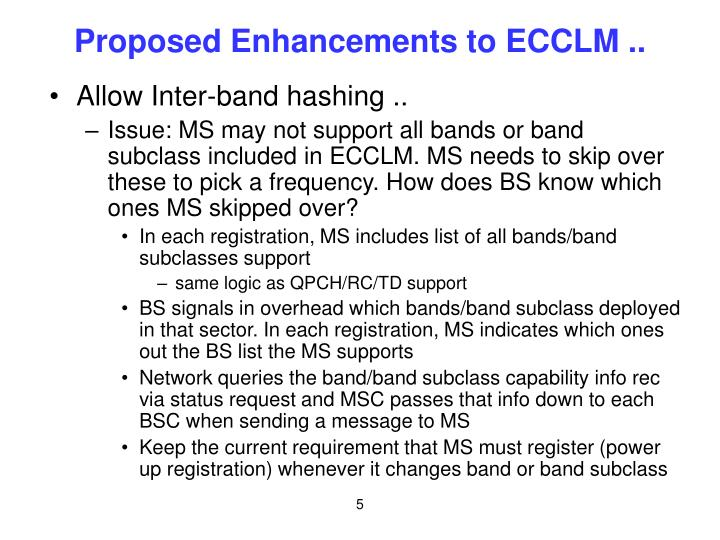 Proposed Enhancements to ECCLM ..