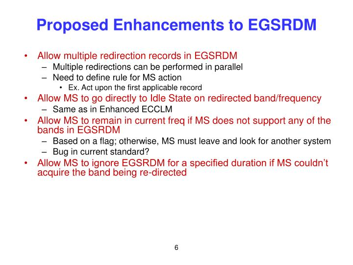 Proposed Enhancements to EGSRDM