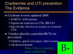cranberries and uti prevention the evidence