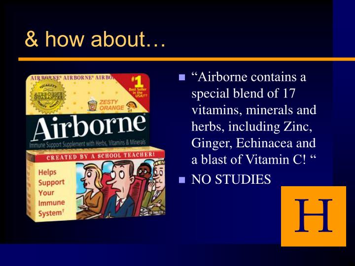 """Airborne contains a special blend of 17 vitamins, minerals and herbs, including Zinc, Ginger, Echinacea and a blast of Vitamin C! """