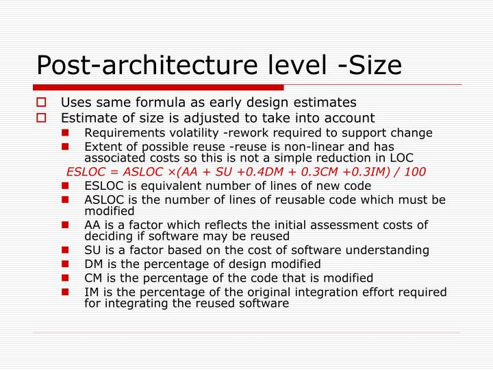 Post-architecture level -Size
