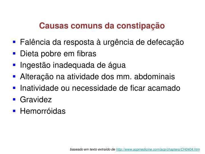 Causas comuns da constipação