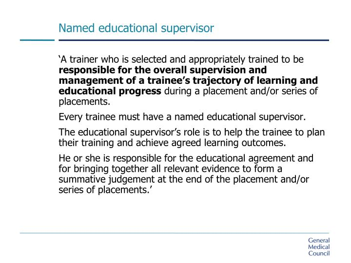 Named educational supervisor