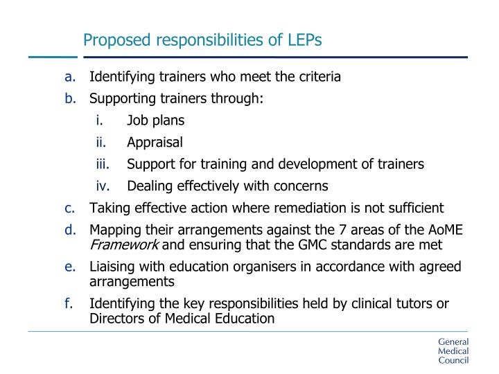 Proposed responsibilities of LEPs