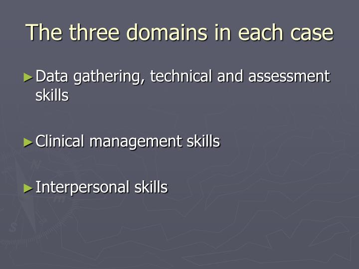 The three domains in each case
