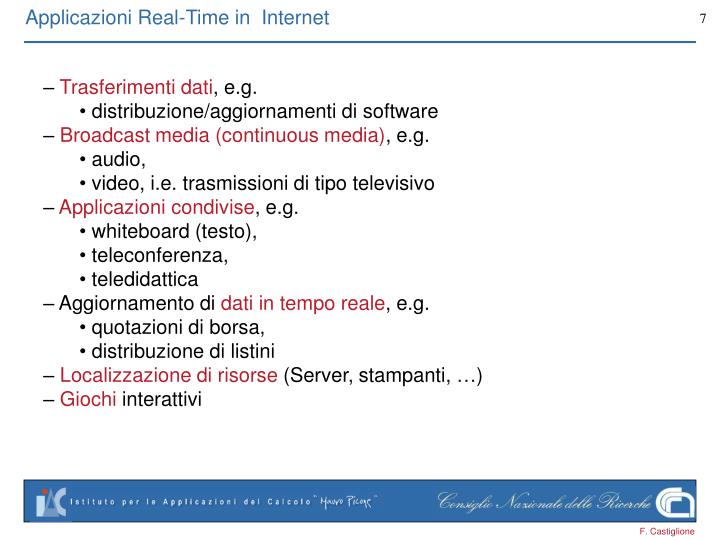 Applicazioni Real-Time in  Internet
