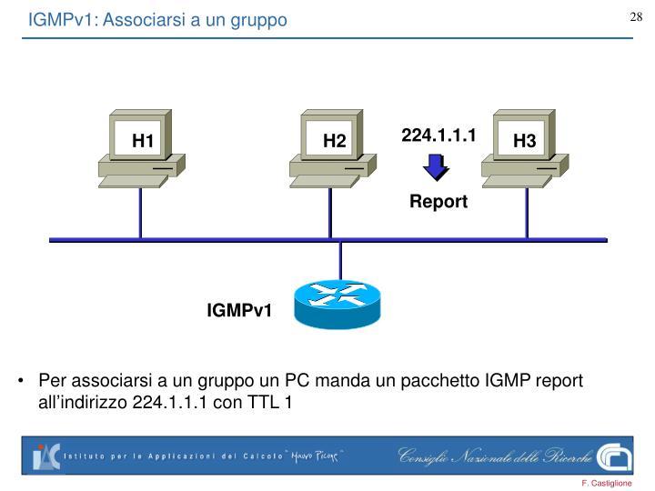 Per associarsi a un gruppo un PC manda un pacchetto IGMP report all'indirizzo 224.1.1.1 con TTL 1