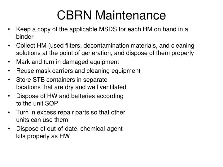 CBRN Maintenance