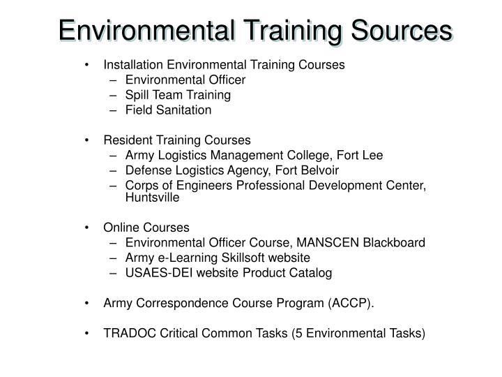 Environmental Training Sources