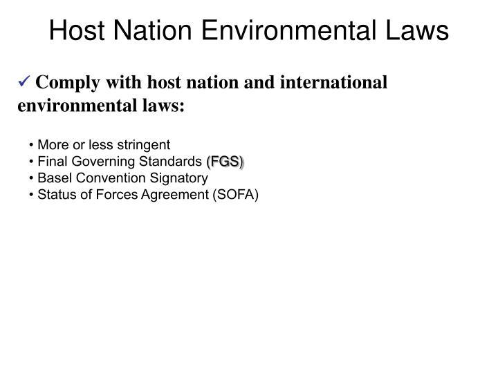 Host Nation Environmental Laws