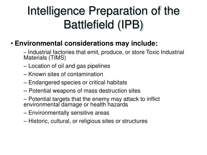Intelligence Preparation of the Battlefield (IPB)