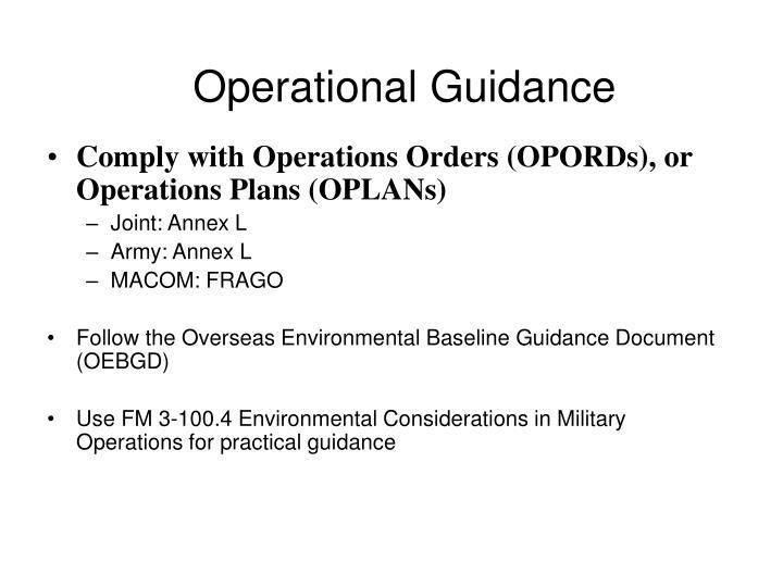 Operational Guidance