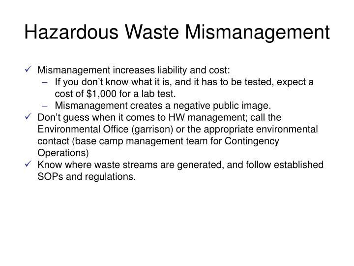 Hazardous Waste Mismanagement