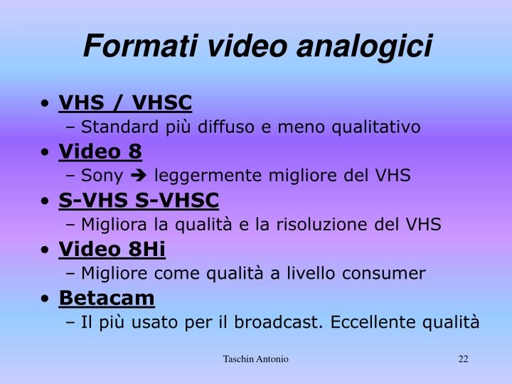 Formati video analogici