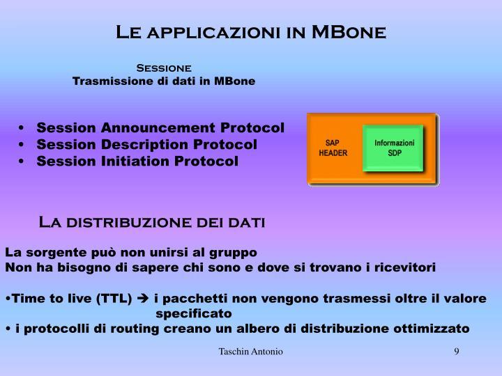 Le applicazioni in MBone