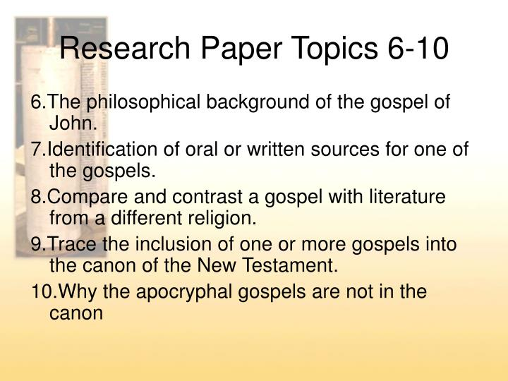 gospel research paper Examples of thesis statements in student papers from previous years gospel of luke, it provides a look at the spread of christianity across the mediterranean.