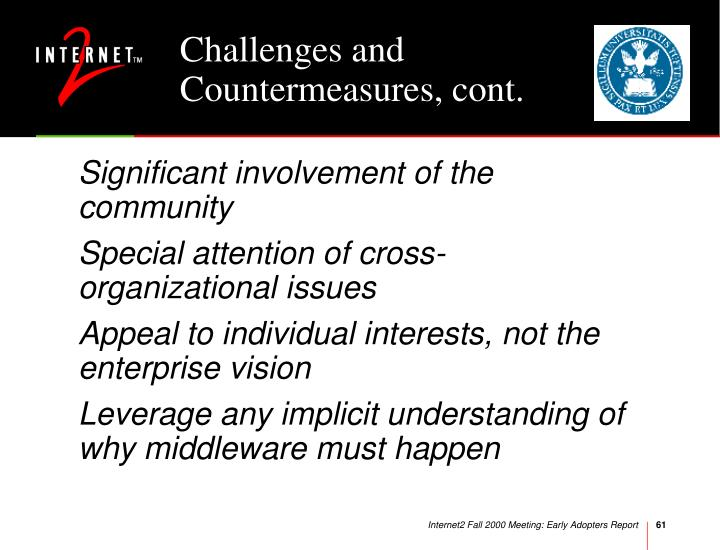 Challenges and Countermeasures, cont.