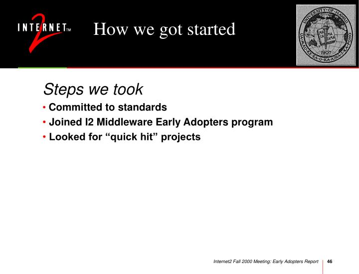 How we got started