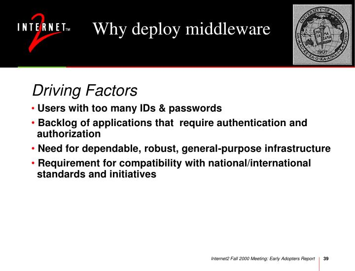 Why deploy middleware