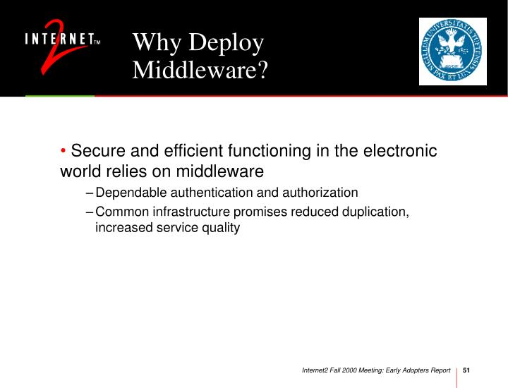 Why Deploy Middleware?