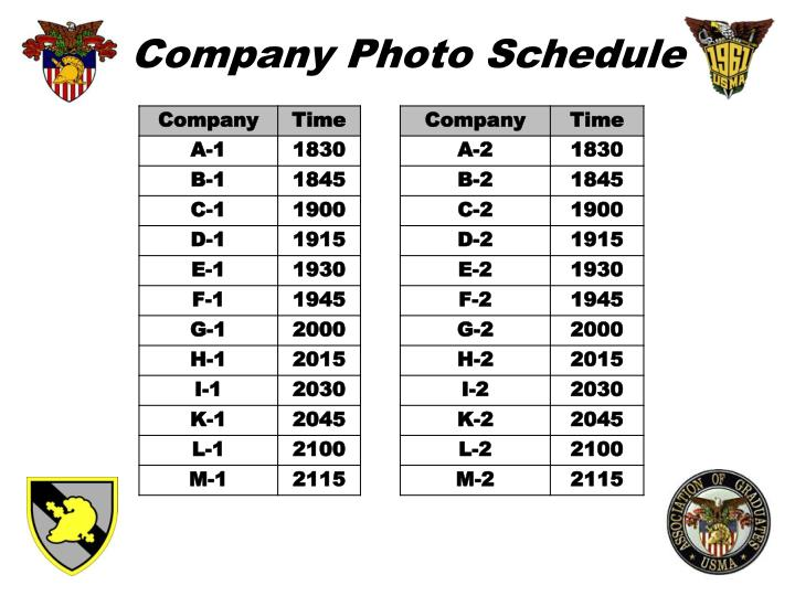 Company Photo Schedule
