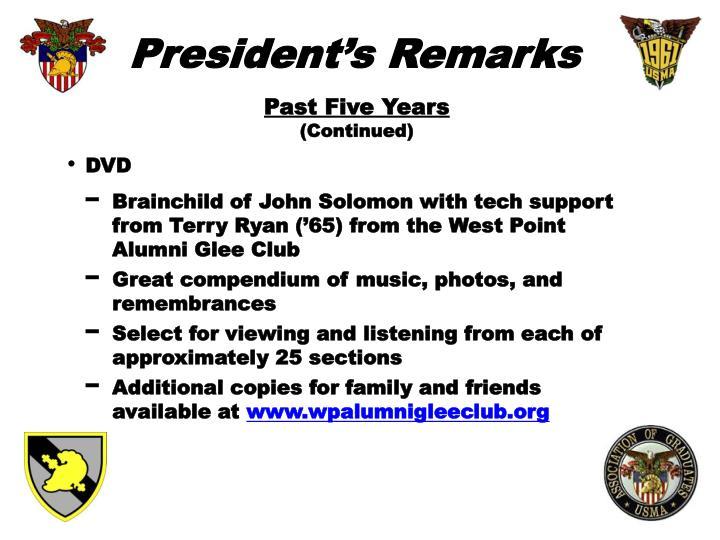 President's Remarks