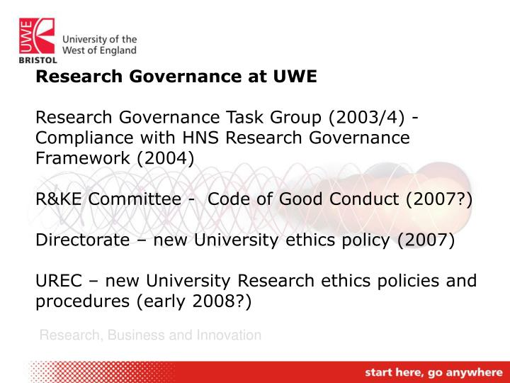 Research Governance at UWE