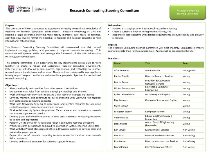 Research Computing Steering Committee