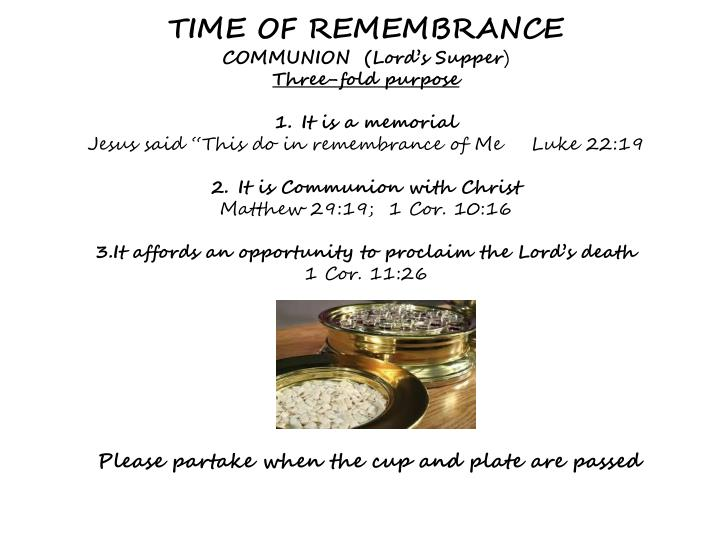 TIME OF REMEMBRANCE