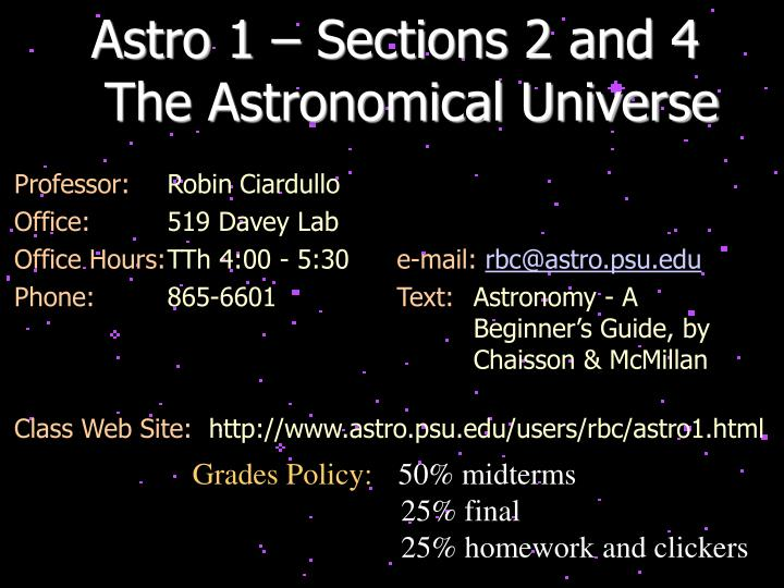 Astro 1 – Sections 2 and 4