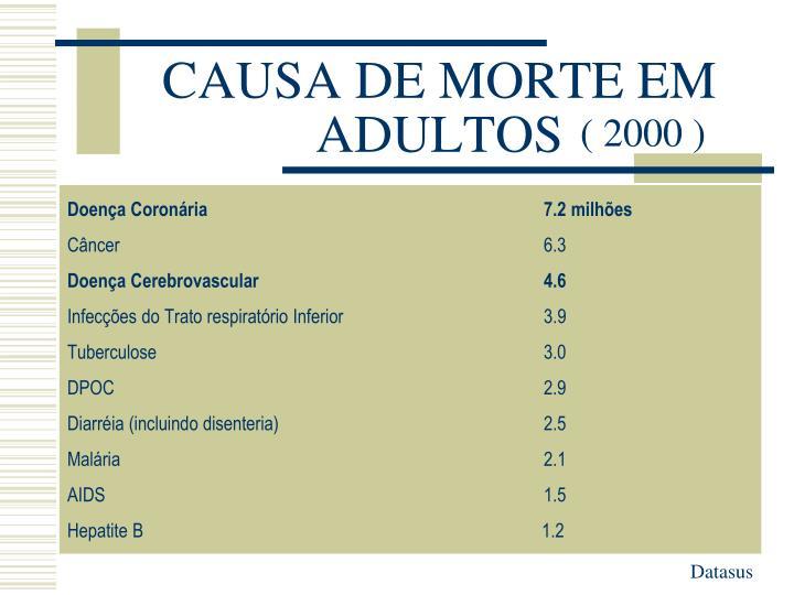 CAUSA DE MORTE EM ADULTOS