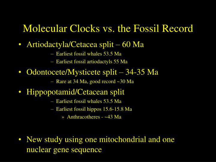 Molecular Clocks vs. the Fossil Record