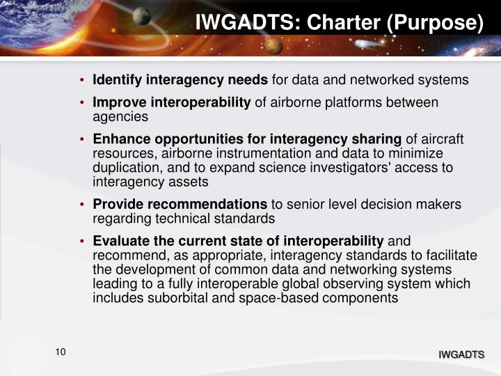 IWGADTS: Charter (Purpose)