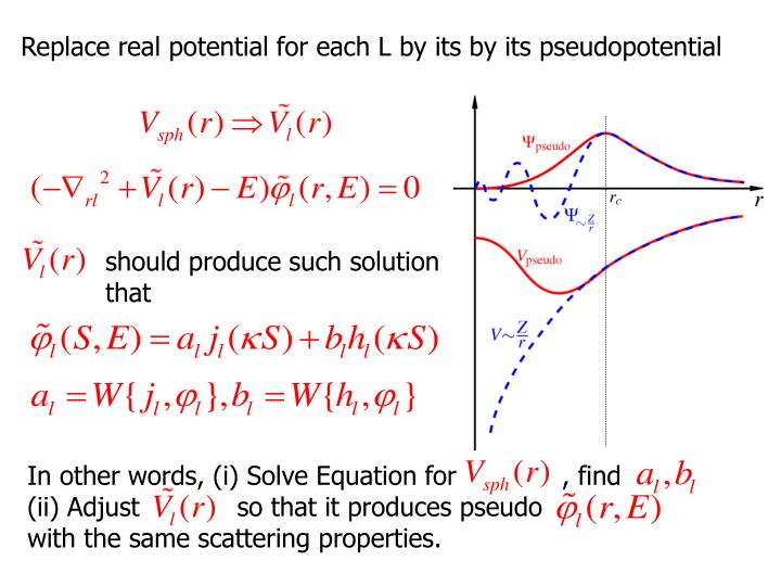 Replace real potential for each L by its by its pseudopotential