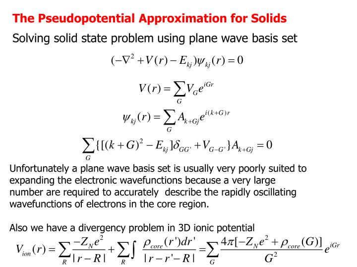 The Pseudopotential Approximation for Solids