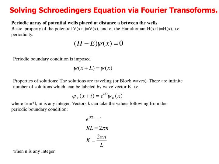 Solving Schroedingers Equation via Fourier Transoforms.